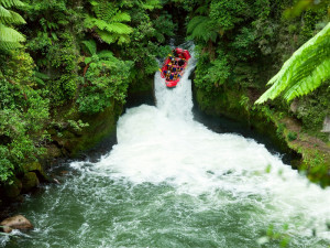 A group of whitewater rafters on the Kaituna River, New Zealand